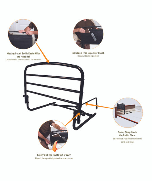 "Stander 30"" Fold-Down Safety Bed Rail"