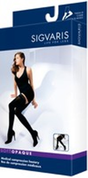 Sigvaris 841N Soft Opaque 15-20 mmHg Closed Toe Thigh High Compression Stockings with Lace Silicone Border