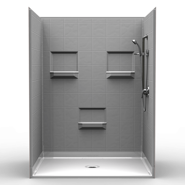 BestBath Barrier Free Shower PKG – Five piece 60×48 – 8 inch Tile Look