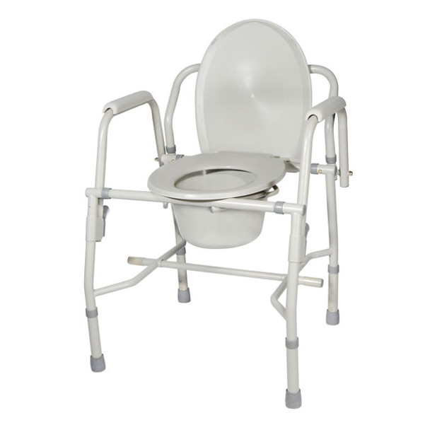 Steel Drop Arm Bedside Commode with Padded Arms - 11125kd-1