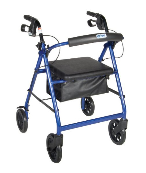 Blue Rollator Walker with Fold Up Removable Back Support Padded Seat - r728bl