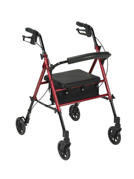 "Adjustable Height Red Rollator with 6"" Wheels - rtl10261rd"