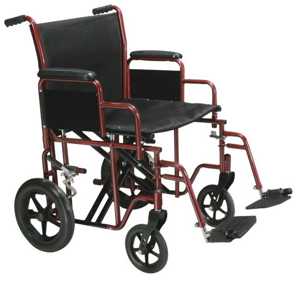 Bariatric Heavy Duty Red Transport Wheelchair with Swing Away Footrest - btr20-r