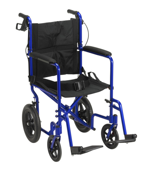 Lightweight Expedition Blue Transport Wheelchair with Hand Brakes - exp19ltbl