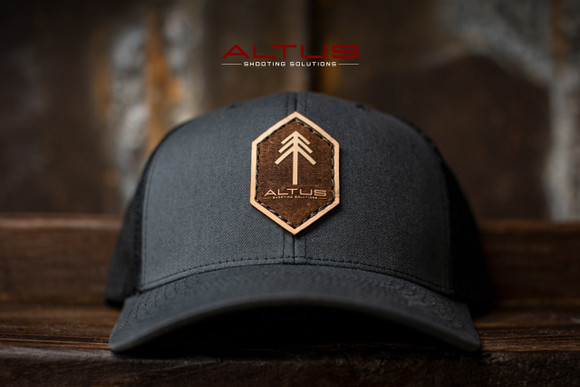 ALTUS Charcoal Leather Patch Hat (Reverse Etching)