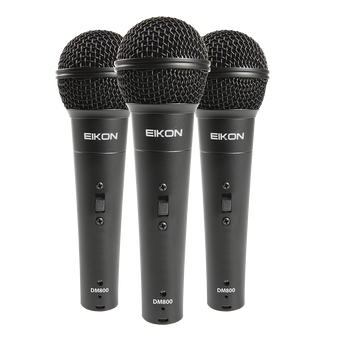 Eikon DM800KIT Vocal Dynamic Microphones. 3 piece kit with clips & ABS Case