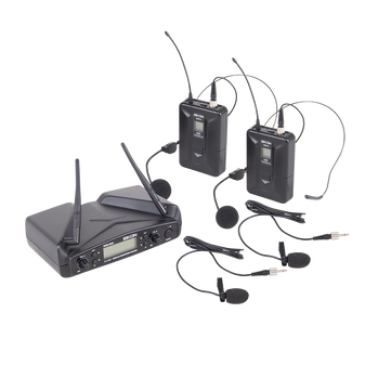 Eikon WM700DHA Dual Wireless System. 2x Belt-Pack with Headset & Lapel microphone 516-562Mhz