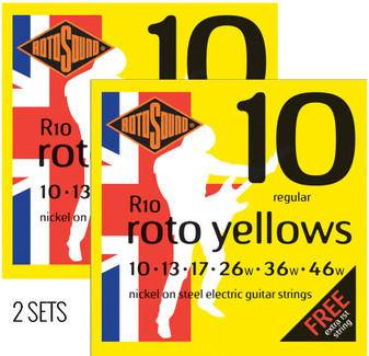2 Packs - Rotosound R10 Roto Yellows Electric Guitar Strings 10-46 - With extra 'E' 1st String