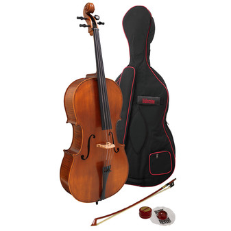 Hidersine Vivente Cello 4/4  all Solid Student Outfit with Professional Setup
