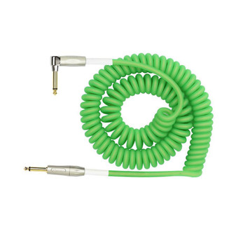 Kirlin 30ft Premium Coil Green Guitar Cable Right Angle - Straight