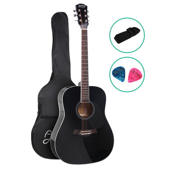 Alpha Dreadnought Acoustic Guitar with bag and strap - Black