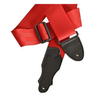 """Franklin 2"""" Red Aviator Seat Belt Strap with Pebbled Glove Leather End Tab"""
