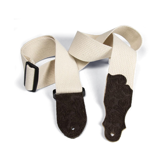 """Franklin 2"""" Natural Cotton Strap with Embossed Chocolate Suede End Tab"""