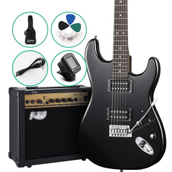 ALPHA Electric Guitar and 20w Amp Pack with Gig Bag Black