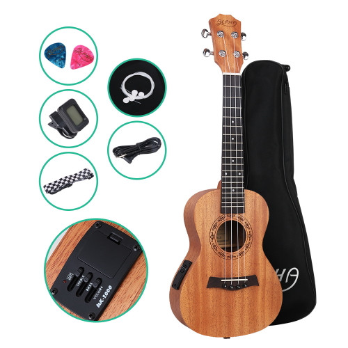 ALPHA Concert Ukulele Mahogany with Pickup and Accessories Pack