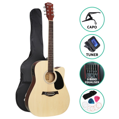 Alpha Dreadnought Cutaway Electric Acoustic Guitar with Capo and Tuner -  Natural