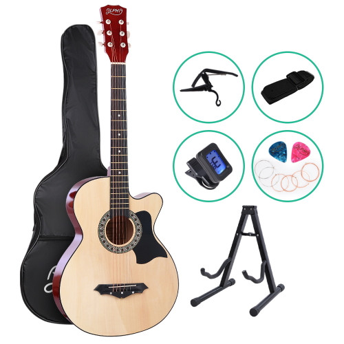 ALPHA Acoustic Folk Guitar with  Cutaway + Accessories set Natural
