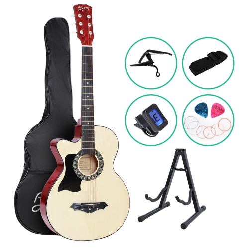 ALPHA Acoustic Folk Guitar Cutaway Left handed with Accessories set Natural Wood