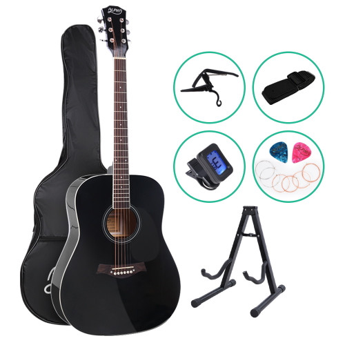 Alpha Dreadnought Acoustic Guitar with Accessories Pack - Black