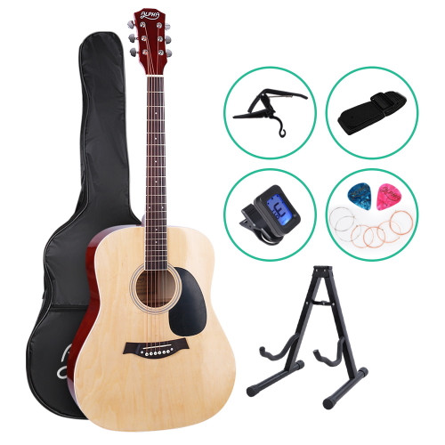 ALPHA Dreadnought Acoustic Steel-Stringed Guitar with Accessories pack - Natural