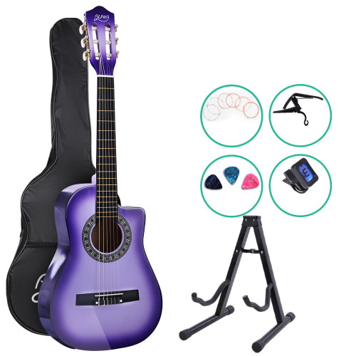 Alpha Classical 1/2 size Acoustic Guitar with Cutaway and Accessories pack - Purple Burst