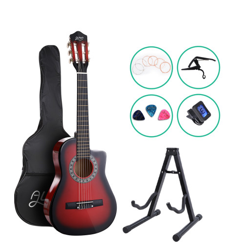 Alpha Classical 1/2 size Acoustic Guitar with Cutaway and Accessories pack - Red