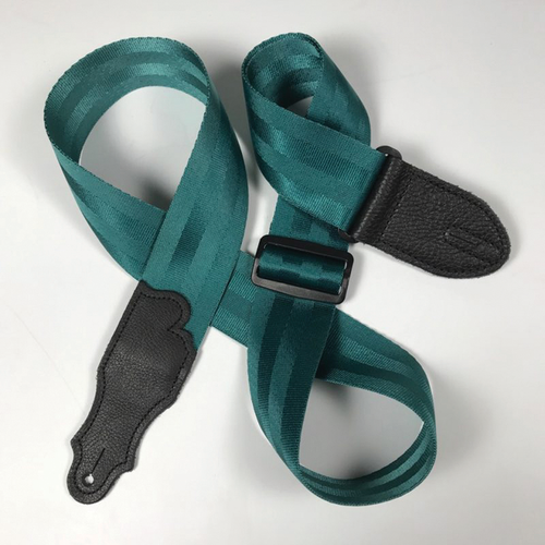 """Franklin 2"""" Teal Aviator Seat Belt Strap with Pebbled Glove Leather End Tab"""
