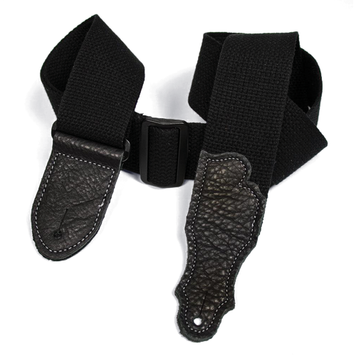 """Franklin 2"""" Black Cotton Strap with Pebbled Black Glove Leather End Tab"""