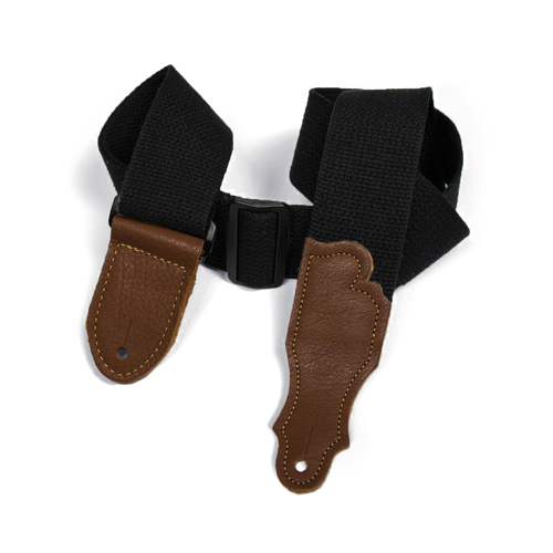"""Franklin 2"""" Black Cotton Strap with Pebbled Caramel Glove Leather End Tab"""