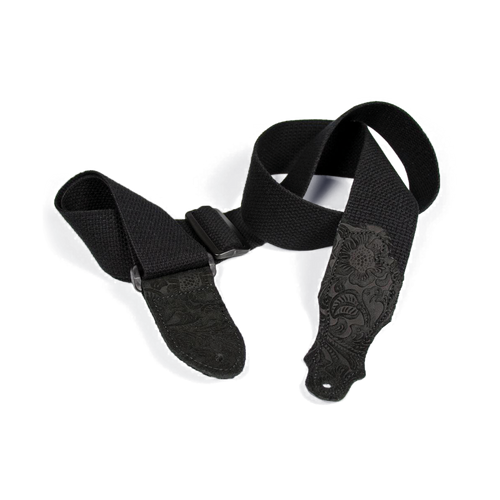 """Franklin 2"""" Black Cotton Strap with Embossed Black Suede End Tab"""