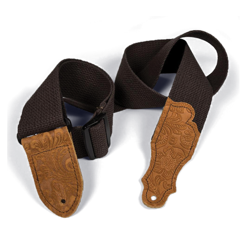 """Franklin 2"""" Chocolate Cotton Strap with Embossed Caramel Suede End Tab"""