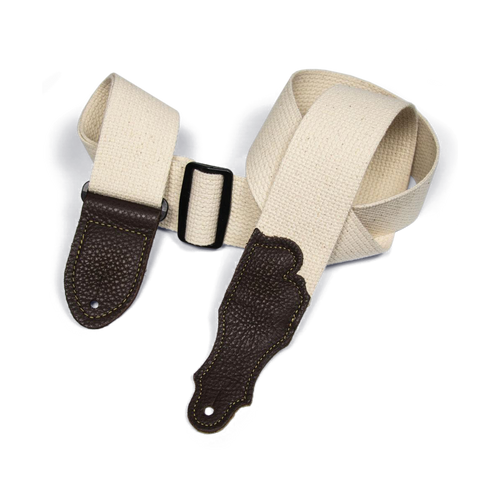 """Franklin 2"""" Natural Cotton Strap with Pebbled Chocolate Glove Leather End Tab"""