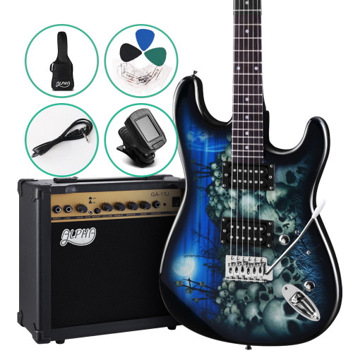 ALPHA SKULL Electric Guitar and 20w Amp Pack with Bag