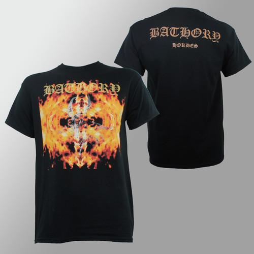 BATHORY Hordes Distressed Goat Logo In Flames T-Shirt