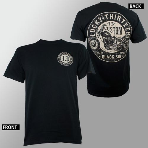 Lucky 13 T-Shirt - Black Sin