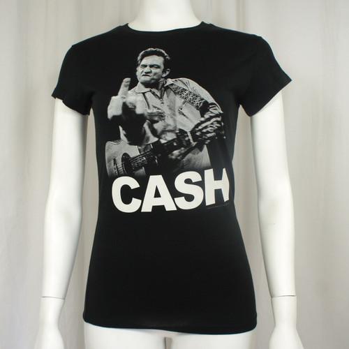 JOHNNY CASH The Bird Jim Marshall Photo Girl Juniors T-Shirt