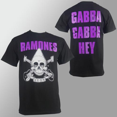 RAMONES Purple Pinhead Skull Gabba Hey Logo T-Shirt