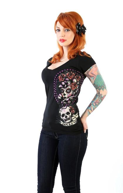 LUCKY 13 Shadow Lady Sugar Skull Girl Juniors V-Neck T-shirt