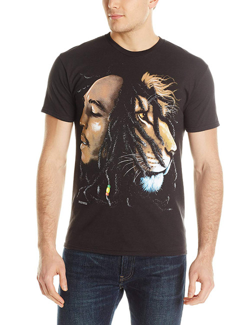 BOB MARLEY Lion Head Profile Black T-Shirt