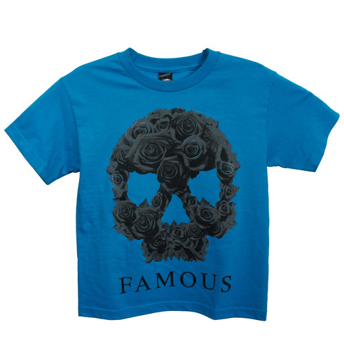FAMOUS STARS & STRAPS Rose Skull Youth Boy T-Shirt