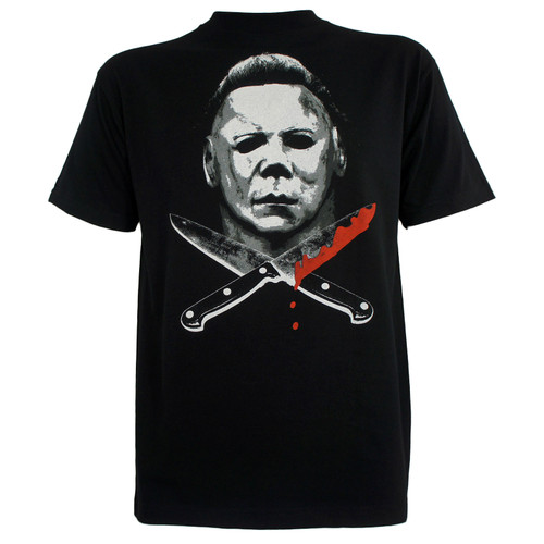 HALLOWEEN Movie Michael Myers Knives Face T-Shirt