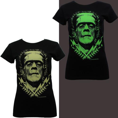 Frankenstein Bolts Glow in The Dark Juniors T-Shirt