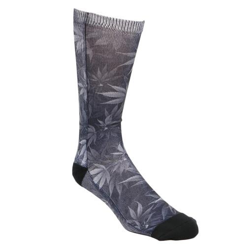 FAMOUS STARS & STRAPS Herb Sublimation Print 420 Weed OSFA Black Socks