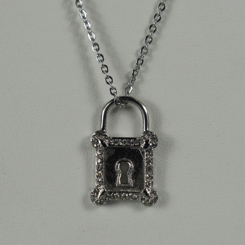 INOX JEWELRY Women's S.S. Pad Lock With Clear Gems Necklace Pendant