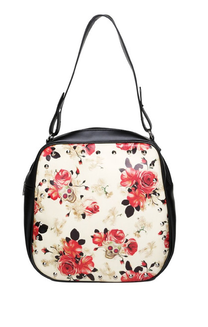 LUCKY 13 Vintage Rose And Skulls Metal Studded Womens Large Handbag
