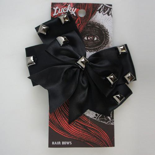 LUCKY 13 Dark Side Studded Black Satin Girls Hair Bow