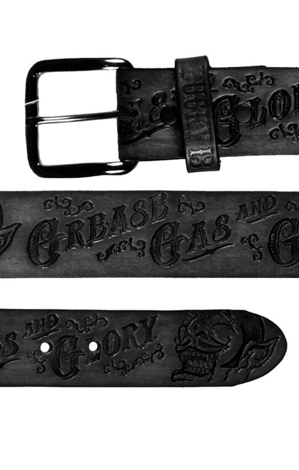 LUCKY 13 Grease Gas Glory Black Embossed Leather Belt