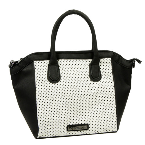 GG Rose Perforated Star Tote White