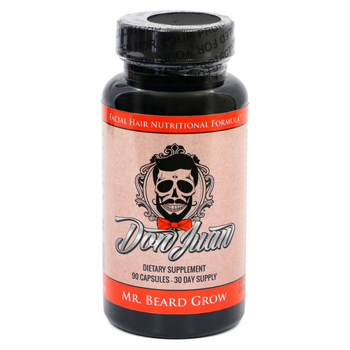 Mr. Beard Grow Facial Hair Enhancer Formula by Don Juan - 90 Vegetarian V-Capsules