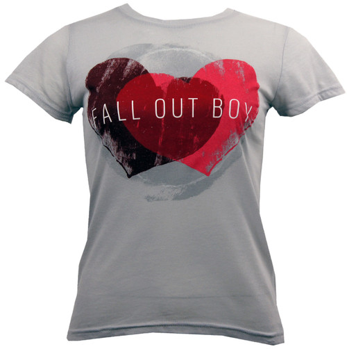 Fall Out Boy Weathered Hearts Juniors T-Shirt